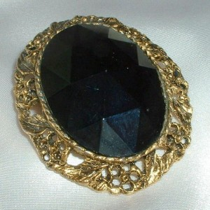 Vintage Victorian Style Black Faceted Stone Brooch